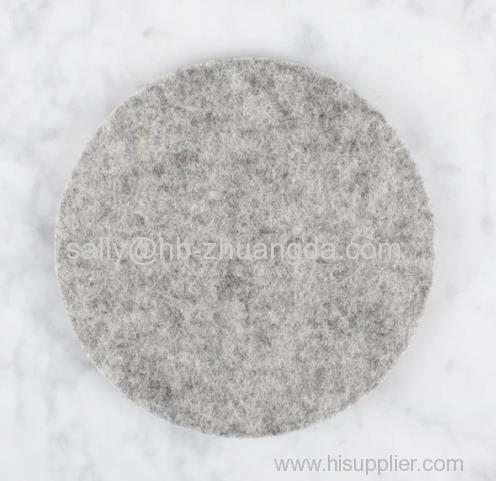 FELT COASTER BULK PRICING MERINO WOOL GRAY ROUND CUP MAT