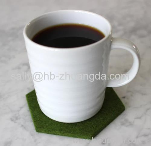FELT COASTER cup mat MERINO WOOL OLIVE GREEN HEXAGON