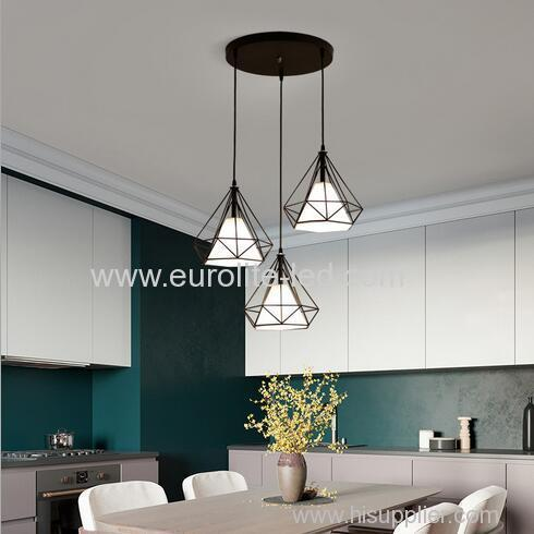 euroliteLED Brown LED Chandelier Iron Art 3 Holder Chandelier Nordic Ceiling Lights Bedroom Restaurant Illumination