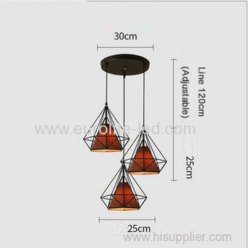 euroliteLED Brown Chandelier-Iron Art 3 Holder Chandelier Nordic Ceiling Lights Bedroom Restaurant Illumination