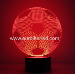 Led Acrylic Soccer 3D Colours Kids Gift Room Decration Night Light
