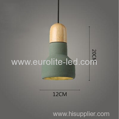 euroliteLED Green Industrial Retro Style Creative Single Head Small Chandelier Cement Solid Wood Living Room