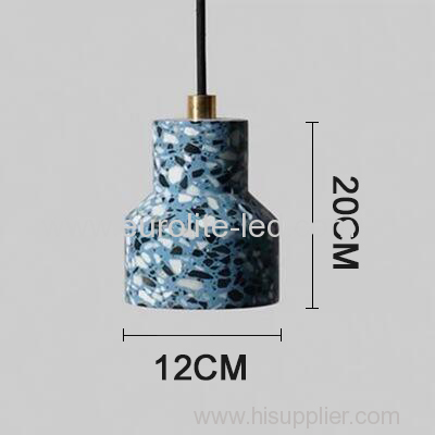 euroliteLED Blue Industrial Retro Style Creative Single Head Chandelier Trendy Modern Design Terrazzo Pendant Light