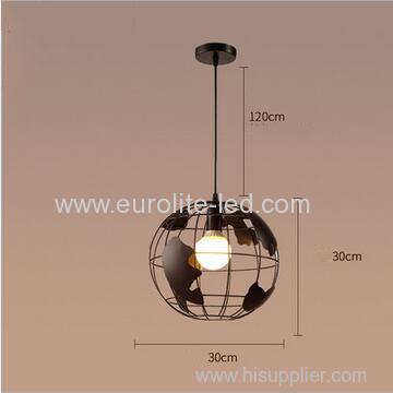 euroliteLED 9W L Industrial Earth Shape Pendant Light LED Ceiling Lamp Vintage Style Wrought Iron Chandelier