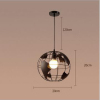 euroliteLED 9W S Industrial Earth Shape Pendant Light LED Ceiling Lamp Vintage Style Wrought Iron Chandelier
