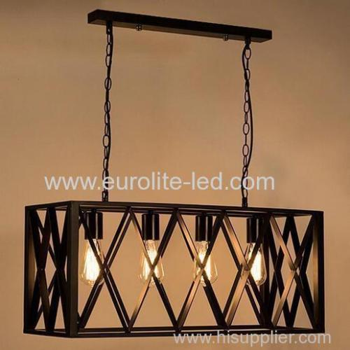 euroliteLED 4W*4 Industrial Retro Style Grid Chandelier Wrought Iron Material Chandelier Lighting Lamps Cafe Bar