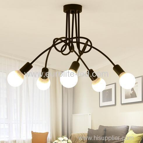euroliteLED 5Head White Wrought Iron Ceiling Lamp Creative Personality Spider Chandelier Living Room Bedroom Led Light