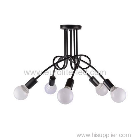 euroliteLED 5Head Black Wrought Iron Ceiling Lamp Creative Personality Spider Chandelier Living Room Bedroom Led Light
