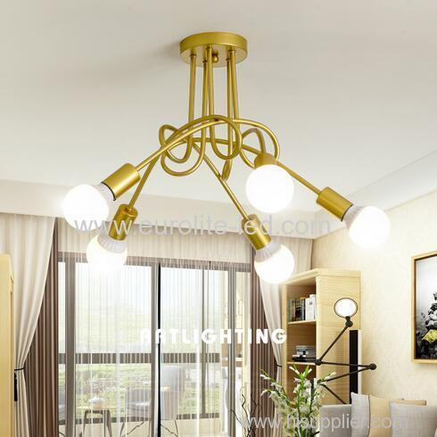 euroliteLED 5Head Gold Wrought Iron Ceiling Lamp Creative Personality Spider Chandelier Living Room Bedroom Led Light