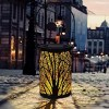 Led Solar waterproof retro-hollowed woods decoration wind light