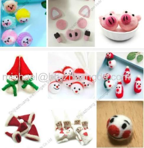 Christmas wool felt handmade DIY Custom Fluffy ball cartoon new year festival hanging pendant children hair pendant acc