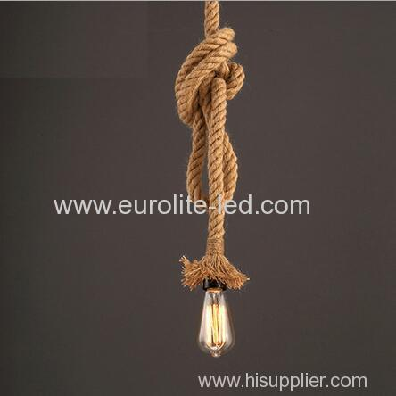 euroliteLED Lighting Retro Single Head Lamp Flax Rope Chandelier Twisted Flaxen Rope Country Style Pendant Lights
