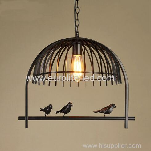 euroliteLED Single Head Bird Cage Chandelier Vintage Loft Metal Ceiling Lamp