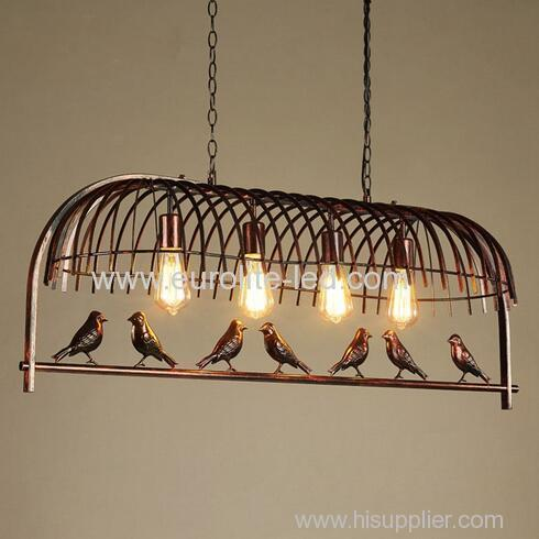euroliteLED Four Head Bird Cage Chandelier Vintage Loft Metal Ceiling Lamp