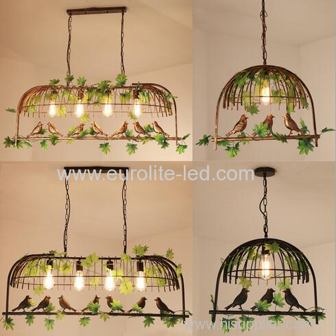 euroliteLED Single Head Black Traditional Birdcage Pendant Lighting Creative Chandelier Vintage Loft Metal Ceiling Lamp