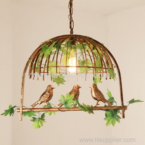 euroliteLED Single Head Bronze Traditional Birdcage Pendant Lighting Creative Chandelier Vintage Loft Metal Ceiling Lamp