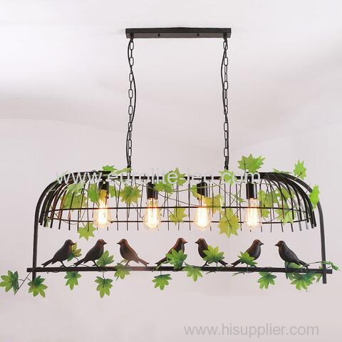 euroliteLED Four Head Black Traditional Birdcage Pendant Lighting Creative Chandelier Vintage Loft Metal Ceiling Lamp