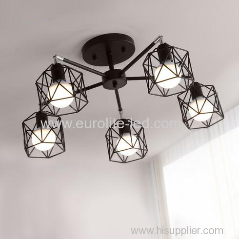euroliteLED 5 Lights Vintage Chandeliers Multiple Rod Wrought Iron Ceiling Lamp E27 Bulb for Home Lighting Fixtures
