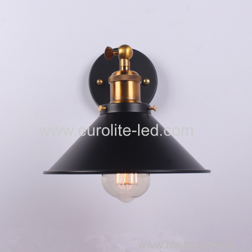 euroliteLED Vintage Loft Black E27 Aluminum lamp Holder Wall Lamp Plated Iron Retro Industrial Home Light Study Lamp