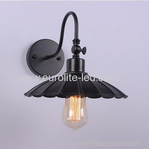 euroliteLED Vintage Industrial Retro Wall Light Sconce Modern Cage Wrought Iron Wall Lamp Lotus Leaf Diameter 25CM