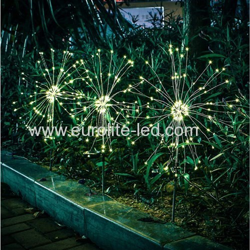 Led Solar Powered 90 Leds Firework Explode Holiday Courtyard Decoration Pin Lamp
