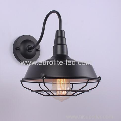 euroliteLED Outer Black Inner White 1-Light Industrial Wall Sconces with Metal Shade Retro Rustic Loft Antique Wall Lamp