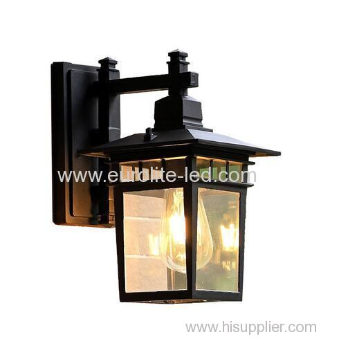 euroliteLED Black Outdoor Wall Sconce Wall Mounted Light Single Light Exterior Wall Lantern with Clear Glass