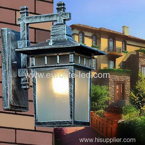 euroliteLED Silver Outdoor Wall Sconce Wall Mounted Light Single Light Exterior Wall Lantern with Clear Glass