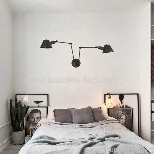 euroliteLED Wall Sconce Swing Arm Angle Adjustable Swing Arm Retro Vintage Wall Mount Light Sconces Wall Lamp(Model 1)