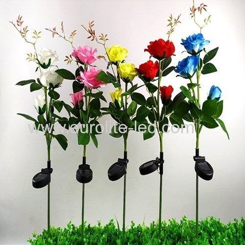 Led Solar Powered Three Roses Outdoor Plug Street Garden Decoration Light