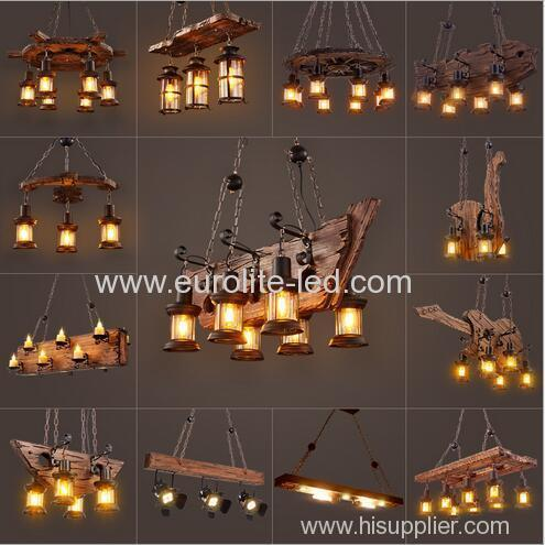 euroliteLED Novely Pendant Light Iron Glass Wood LOFT Retro Industrial Chandeliers(Candle chandelier)