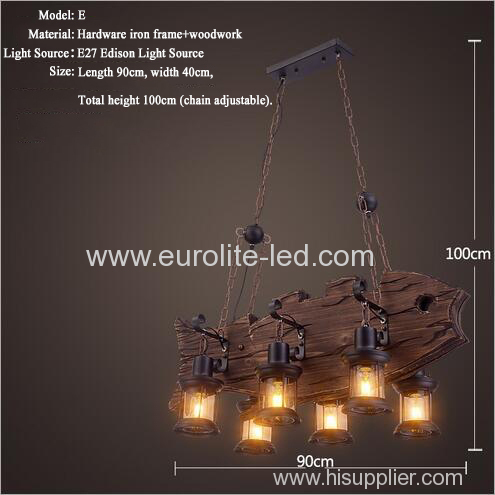 euroliteLED Novely Pendant Light Iron Glass Wood LOFT Retro Industrial Chandeliers(Fish Shape)