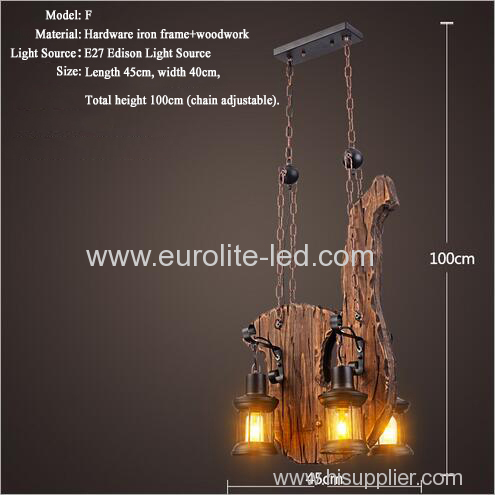 euroliteLED Novely Pendant Light Iron Glass Wood LOFT Retro Industrial Chandeliers(Saxophone Shape)