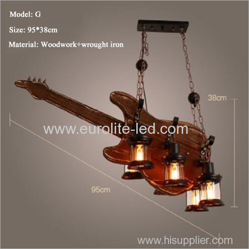 euroliteLED Novely Pendant Light Iron Glass Wood LOFT Retro Industrial Chandeliers(Guitar Shape)