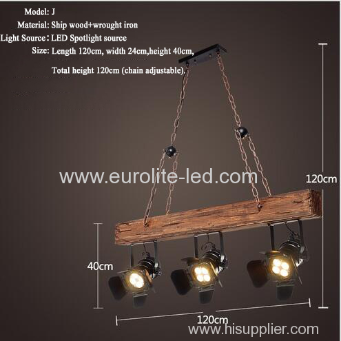 euroliteLED Novely Pendant Light Iron Glass Wood LOFT Retro Industrial Chandeliers(Stripe Shape)