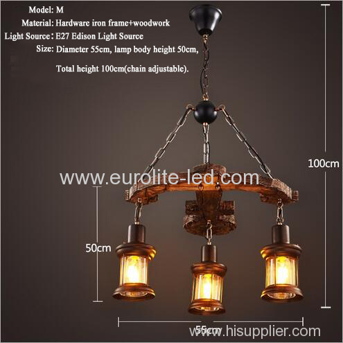 euroliteLED Novely Pendant Light Iron Glass Wood LOFT Retro Industrial Chandeliers(Anchor Shape)