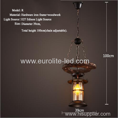 euroliteLED Novely Pendant Light Iron Glass Wood LOFT Retro Industrial Chandeliers(Moon Ring Shape)