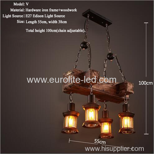 euroliteLED Novely Pendant Light Iron Glass Wood LOFT Retro Industrial Chandeliers(Keel Shape)