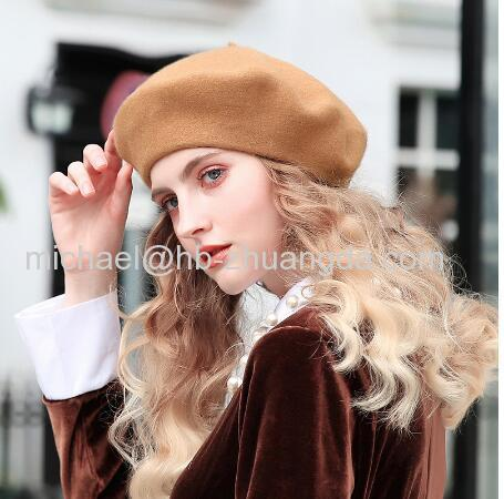 100% Pure Wool Fashion Beret Hat Women Felt Beret British Style Girls Beret Hat Lady Solid Color Slouchy Winter Hats Fem