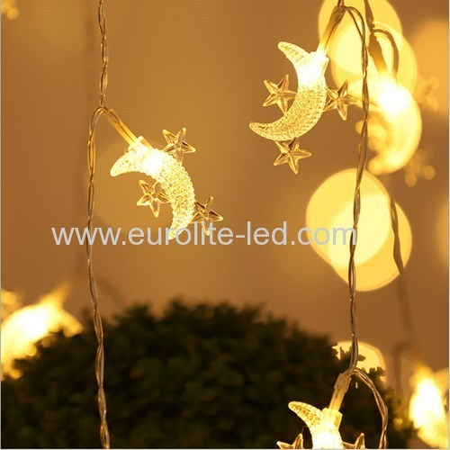 Led Moon Star String Battery Cute Holiday Room Garden Decoration Night Light
