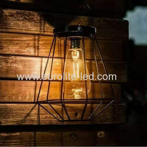 Led Solar Powered Diamond Iron Outdoor Garden Decoration Hand Lamp