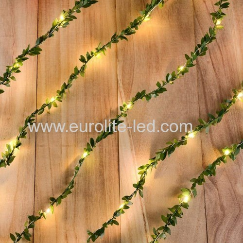 Led Green Leaves String Battery Fairy Room Holiday Wedding Decoration Night Light