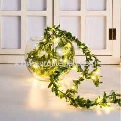 Led Solar Powered Green Leaves String 10m 20leds Fairy Room Holiday Wedding Decoration Night Light