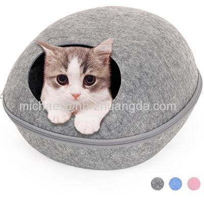 HOOPET Dog Cat Bed Cave Sleeping Bag Zipper Egg Shape Felt Cloth Pet House Nest Cat Basket Products for Cats Anim