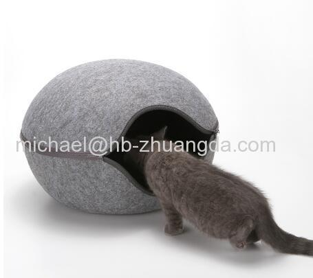 Egg Shape Dog Cat Bed Cat Sleeping Bag Zipper Felt Cloth Winter Warm Pet House All Around Cat Nest With Detachable Cushi