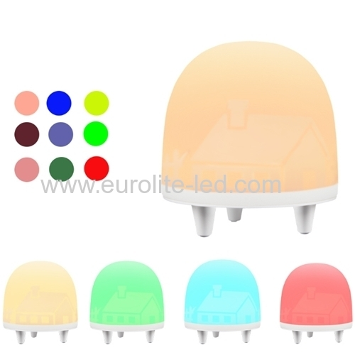 Led Dimmable RGB Eight Colors Three Gear Brightness Silicone Battery USB Bedroom Decration Night Light