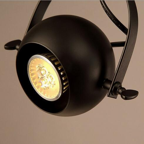 euroliteLED Single Head Industrial Vintage Ceiling Spotlights Black Long Pole Spotlights