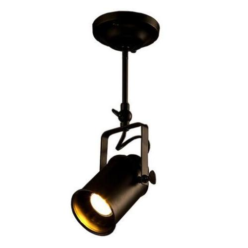 euroliteLED Single Head Ceiling Light Industrial Retro Spotlight Adjustable Lamp Head Long Pole LED Light Fixture Black