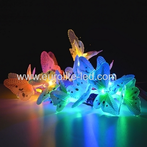 Led Solar Power Animal Design Multi-Color Fiber Optic Butterfly Party Holiday Decoration Night Light