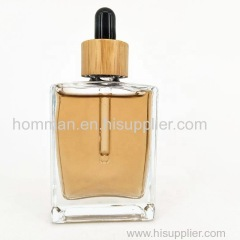 Natural Bamboo Cap Square Glass Oil Dropper Bottle